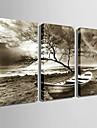 Dreptunghiular Modern/Contemporan Ceas de perete , Altele Canava 30 x 60cm(12inchx24inch)x3pcs /40 x 80cm(16inchx32inch)x3pcs