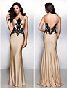 Formal Evening Dress - Champagne Trumpet/Mermaid Scoop Sweep/Brush Train Jersey
