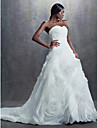Lanting Bride A-line / Ball Gown Petite Wedding Dress Vintage Inspired Chapel Train Sweetheart Organza with