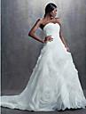 Lanting Bride® A-linje / Balkjole Petit Brudekjole Vintage Inspireret Kapelslæb Sweetheart Organza med
