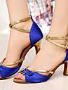 Chaussures de danse (Noir/Bleu) - Personnalisable - Talons personnalises - Satin - Danse latine