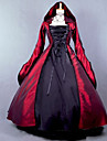 Une Piece/Robes Gothique Steampunk® Cosplay Vetrements Lolita Rouge Mosaique Poete Manches Longues Long Robe Pour Satin Terylene Coton