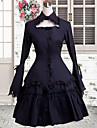 söt dam ärmlös knälång svart och rött bomulls söta lolita klänning