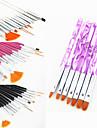 15st akryl nail art konstruktion målning teckning penna pensel (3 färgar väljer) med 7st uv gel pensel set nylon hår