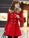 Women\'s Coat,Patchwork Long Sleeve Winter Blue / Red / Black / Orange Wool / Others Medium