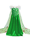 Costumes de Cosplay / Costume de Soiree Princesse / Deguisements Theme Film/TV Fete / Celebration Deguisement Halloween Vert Imprime Robe