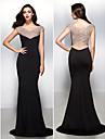Fiesta formal Vestido - Negro Corte Sirena Barrer / cepillo tren - Escote en V Jersey