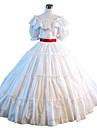 One-piece/Klänning Gotisk Lolita Steampunk® Victoriansk Cosplay Lolita-klänning Vit Enfärgat Kort ärm Lång längd Klänning För DamSatäng
