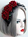 Retro Palace Black Lace Red Rose Headband