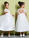 A-line Tea-length Flower Girl Dress - Lace / Tulle Short Sleeve