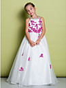 Lanting Bride ® A-line Floor-length Flower Girl Dress - Organza Sleeveless Jewel with Appliques / Beading