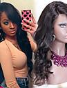 """non traite 10 """"-24"""" cheveux bresiliens vierges couleur naturelle ondules perruque complete avec bang cote 130% de la densite perruques de"""