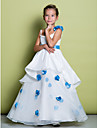 Lanting Bride A-line Floor-length Flower Girl Dress - Organza Sleeveless Spaghetti Straps with Flower(s)