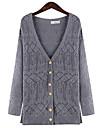 Dame Plus Size Vintage Lung Cardigan-Mată / Geometric Albastru / Gri Manșon Lung Rotund / In Formă de Inimă Bumbac / In / Altele Iarnă