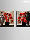 Stilleben / Botanisk Canvastryck Två paneler Redo att hänga , Andra
