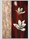 HANDMÅLAD Blommig/BotaniskModerna / Europeisk Stil En panel Kanvas Hang målad oljemålning For Hem-dekoration