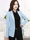 Mulheres Blazer Plus Sizes Outono,Solido Azul / Cinza Poliester Lapela Chanfrada Manga Longa Media