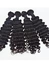 4st / lot brasilianska jungfru hår djup våg mänskliga hårförlängningar naturligt svart curl hår 8 \'\' - 30 \'\' hår väver