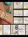 11 - Series bijoux / Series animales / Series de fleur / Series de totem / Autres - Dore - Motif - 15cm*21cm - Tatouages Autocollants -