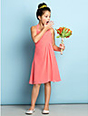 Lanting Bride® Knee-length Chiffon Junior Bridesmaid Dress - Mini Me A-line Halter with Criss Cross