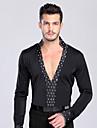 Latin Dance Tops Men\'s Performance / Training Spandex Crystals/Rhinestones 1 Piece Black Latin Dance Spring, Fall, Winter, SummerLong