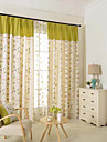 Two Panel Modern Vine Flower Print Cotton Energy Saving Curtains Drapes