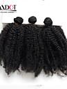 3pc lot peruanska afro kinky lockigt jungfru hår 100% äkta hår väva buntar peruanska lockigt hårförlängningar naturligt svart