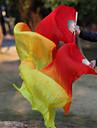 Hot Selling Belly Dance 100% Real Silk Fan Veils Silk Fabric Veils Red-Orange-Yellow 180*90cm 2pcs/L+R