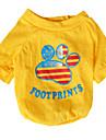 Chat / Chien T-shirt Jaune / Vert Vetements pour Chien Ete / Printemps/Automne Drapeau national Mode