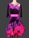 Latin Dance Dresses Women\'s Performance / Training Chinlon / Velvet Crystals/Rhinestones / Ruched
