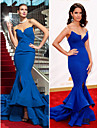 Robe - Bleu royal Bal militaire/Soiree formelle Sirene Sans bretelles Balayage / pinceau train Mousseline polyester Grandes tailles