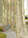 Two Panels Darkening Linen Embroidered Green Curtain Living Room Curtains Drapes