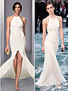 TS Couture Formal Evening Dress - Ivory Plus Sizes / Petite Sheath/Column Halter Sweep/Brush Train Chiffon
