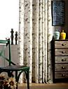 Två paneler Fönster Behandling Rustik Modern Medelhavet , Rand Sovrum Linne/Bomull blend Material gardiner draperier Hem-dekoration For
