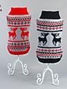 Chat / Chien Pull Rouge / Noir Vetements pour Chien Hiver Renne Noel / Nouvel An
