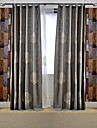 (Two Panels)Modern Tree Embroidered Cotton/Linen Blend Energy Saving Curtain(Sheer Not Included)