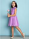 Lanting Bride® Knee-length Chiffon Junior Bridesmaid Dress - Mini Me A-line Jewel with Flower(s) / Criss Cross