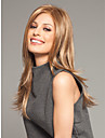 brun naturel perruque synthetique capless longue de haute qualite de cheveux raides avec bang cote