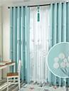 Två paneler Rustik Blommig/Botanisk Blå Bedroom Linne/Bomull blend Panelgardiner draperier