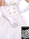 Black/White Ladies\' Elbow Length Glove Party/Wedding Fingertips Glove Opera Length+DIY Pearl and Rhinestone
