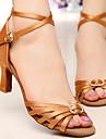 Rhinestone Women\'s Dance Shoes Latin / Salsa / Samba/Ballroom Satin Customized Heel Brown
