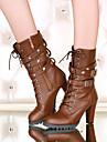 Pantofi pentru femei - Imitație de Piele - Toc Gros - Tocuri / Vârf Rotund - Cizme - Outdoor / Birou & Carieră / Casual - Negru / Maro
