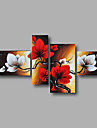 Ready to Hang Stretched Hand-painted Oil Painting Canvas Wall Art Magnolia Flowers Red Brown Four Panels