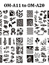 10pcs New Square 6.2cm Nail Art Stamping Plates DIY Nail Stamp Stencil DIY Nail Template (OM-A11 to OM-A20)