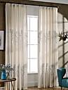 Deux Panneaux Rustique / Moderne / Neoclassique Floral / Botanique Beige Chambre a coucher Melange Poly/Coton Panneau Rideaux rideaux