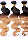 1 st ombre peruanska jungfru hår förkroppsligar vinkar ombre hårförlängningar ombre 3 ton färgat T1B / 4/27 humana hår väva buntar