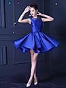 a-line bijuterie gât scurt / mini satin rochie de onoare cu beading de xiangyouyayi