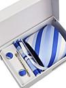 Cravată / Buzunar Pâtrat / Clip Cravată / Butoni ( Albastru , Poliester ) Model