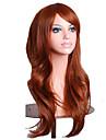 Capless mix färg lång längd högkvalitativa naturliga lockigt hår syntetisk peruk med sidan bang
