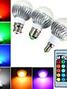 5W E14 / GU10 / B22 / E26/E27 LED-globlampor A60(A19) 1 Högeffekts-LED 540 lm RGB Dimbar / Fjärrstyrd / Dekorativ AC 85-265 V 1 st
